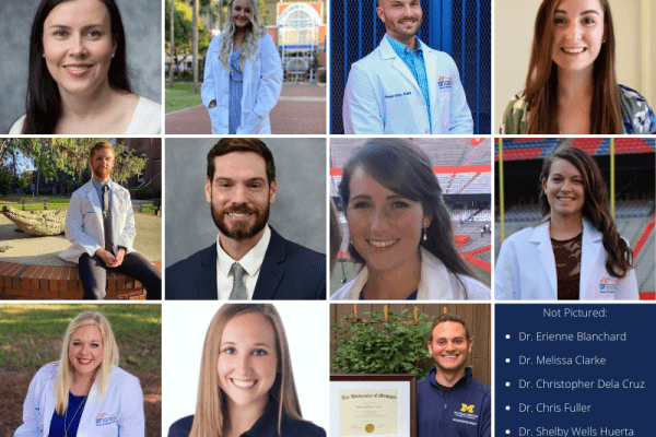 A photo collage of all UF DPT alumni who received specialized certifications or graduated from residency programs. From top to bottom and left to right: Drs. Alanna Baker, Nicole Casagrand, Tommy Coffey, Renee Fontana, Jake Irwin, John Jones, Kristi Kirby, Katherine McConnell, Rebecca Wheeler, Danielle Woodruff, and Brett Zebelian.