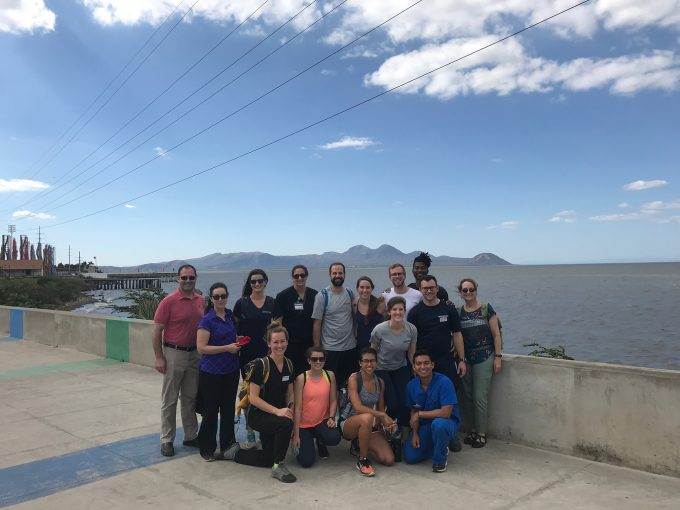 Nicaragua group photo in front of mountains