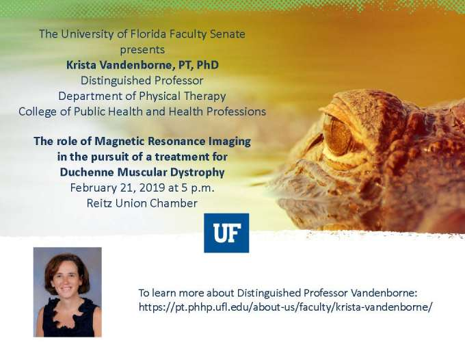 Flyer of Dr. Vandenborne's Distinguished Professor Lecture