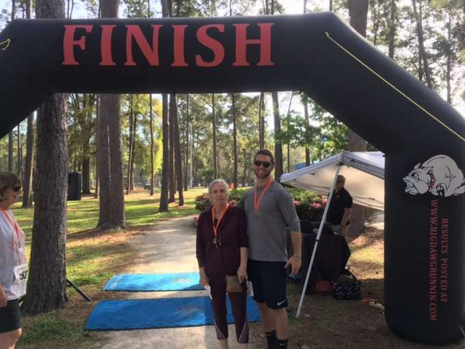 Mary Houston pictured with DPT student Jordan Weise after they completed Joey's Run 5K