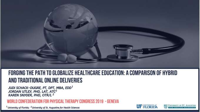 "Dr. Schack-Dugre's title slide ""Forging the path to globalize healthcare education: A Comparison of hybrid and traditional online deliveries"""