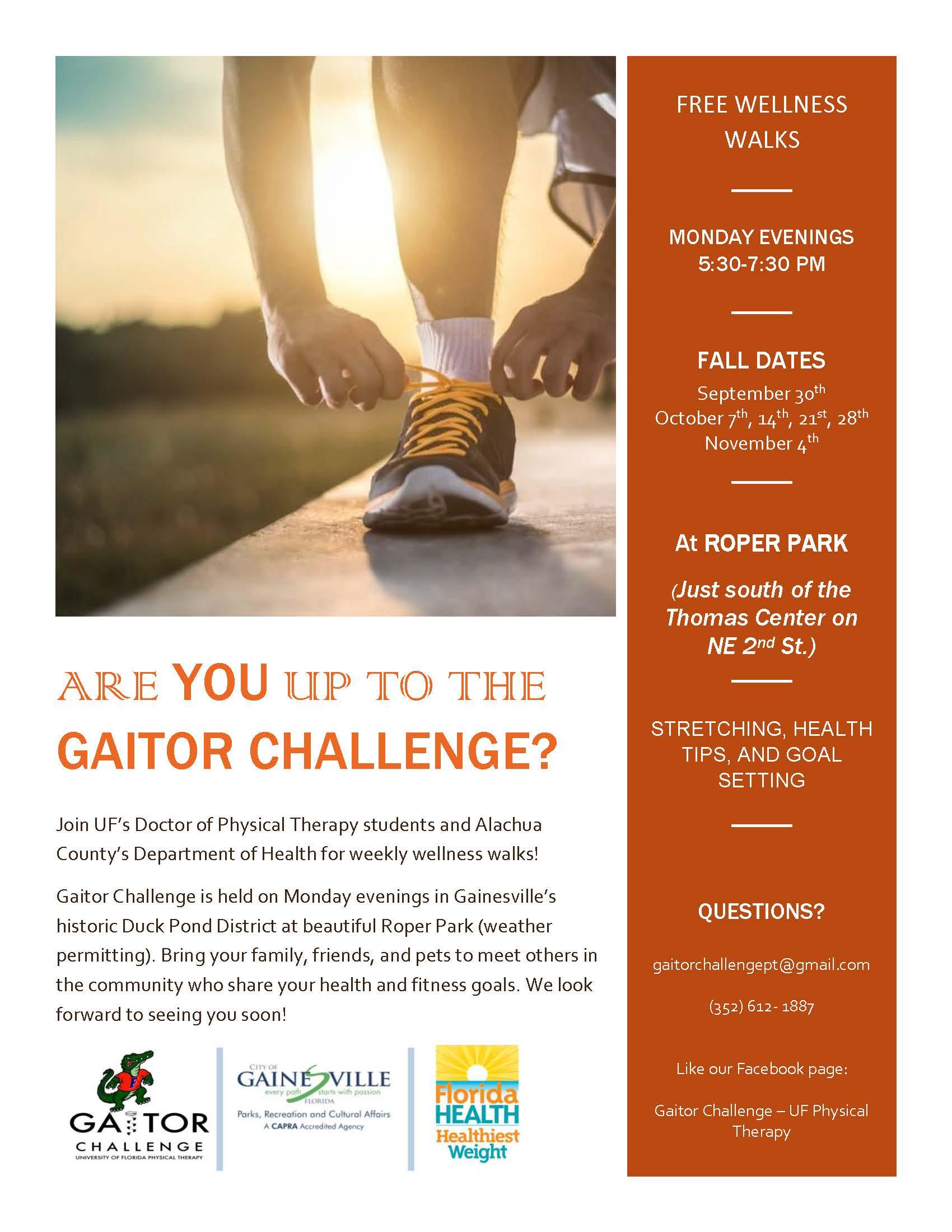 Gaitor Challenge - wellness walks flyer