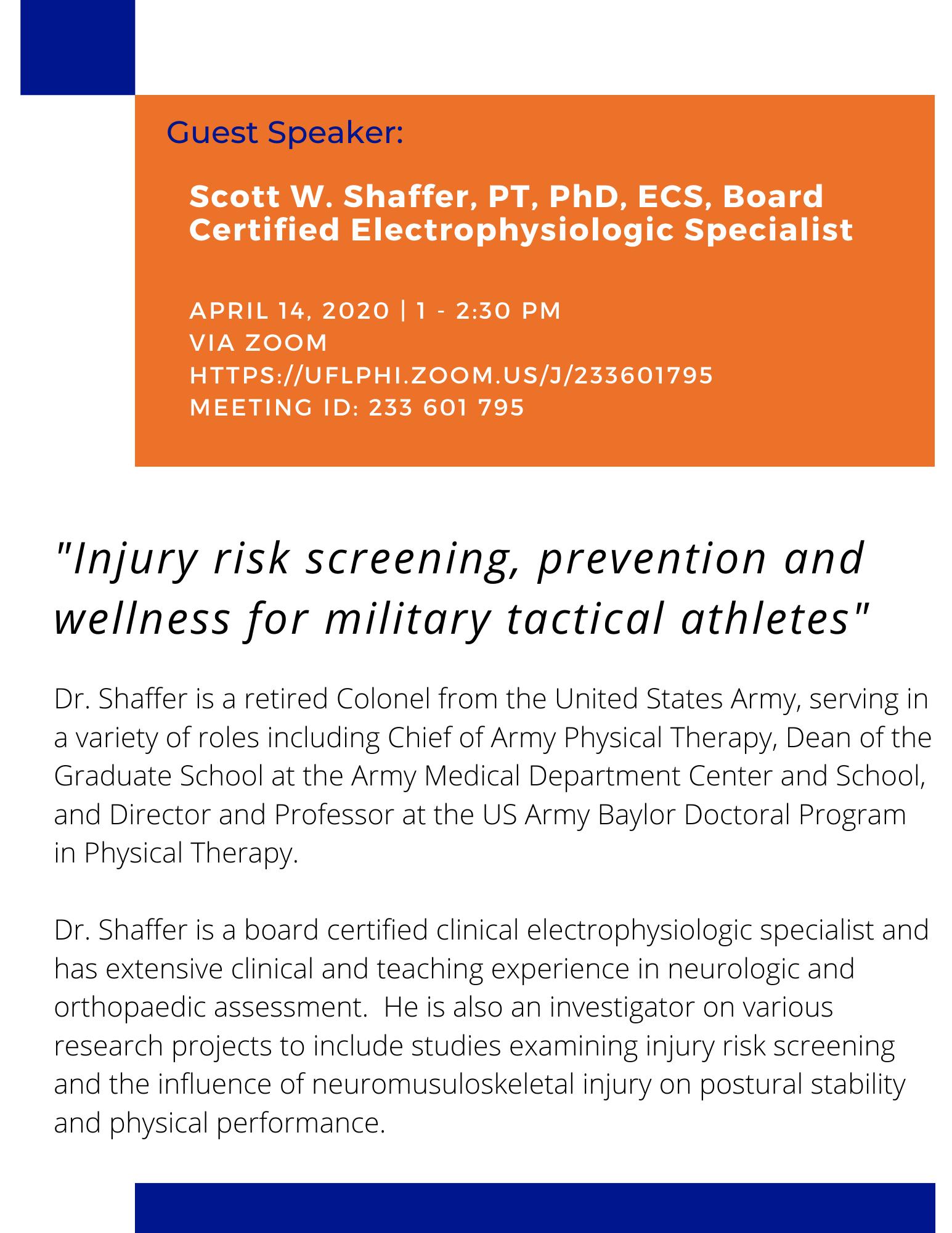 Flyer of Scott Schaffer's guest talk
