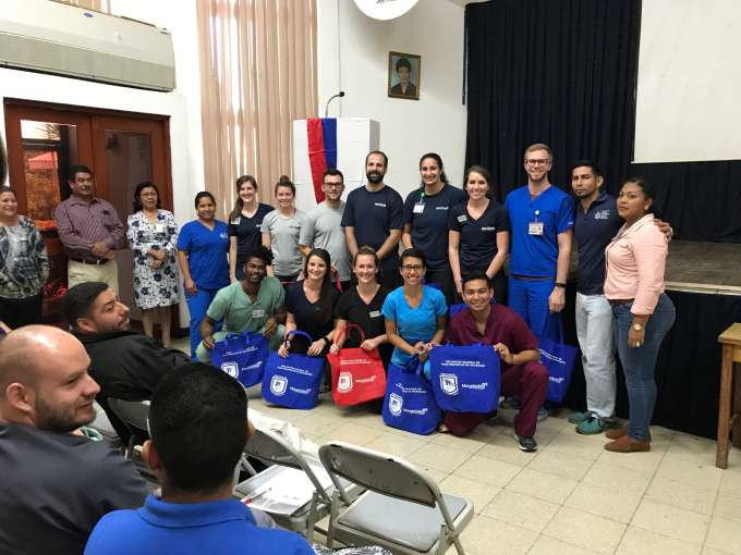 The DPT students pictured with the group from Nicaragua