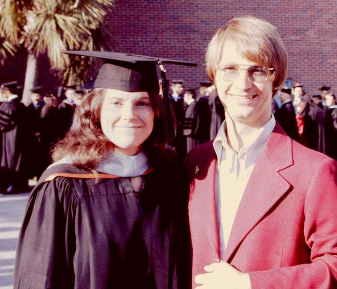 Anne and Rolf Kuhns at Anne's master's graduation in 1975.