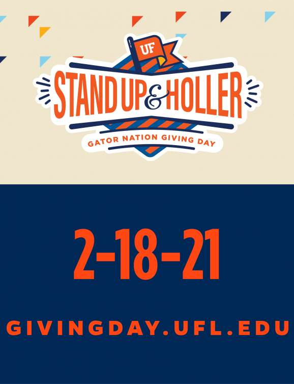stand up and holler giving day graphic with date and givingday.ufl.edu website