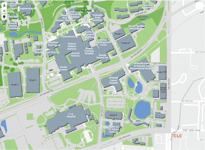 Map of the health science center and the UF Clinical Learning Center (CLC)