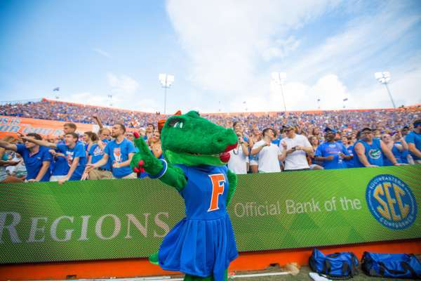 Picture of UF mascot Alberta at a UF football game